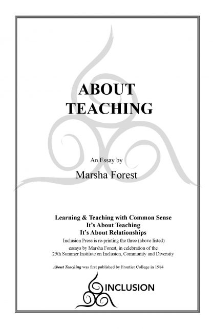 Marsha Forest.About Teaching.cover